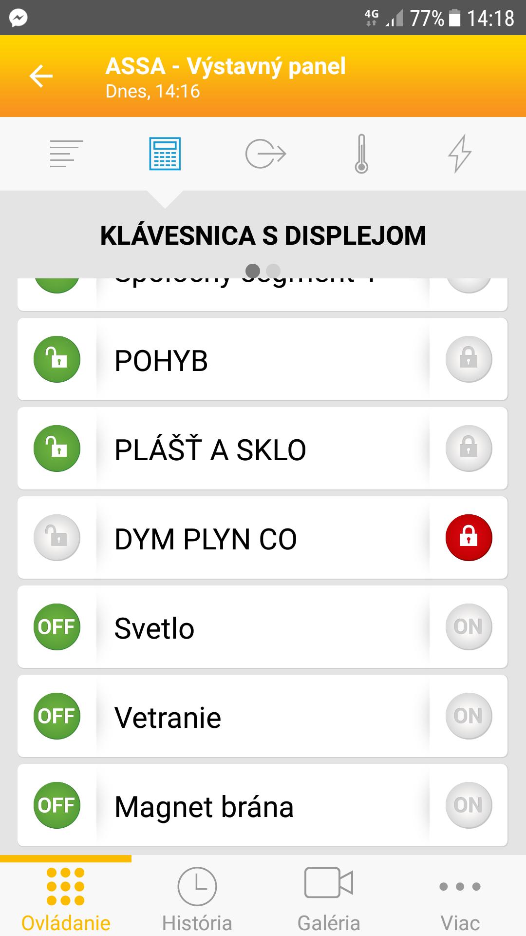 Aplikácia MyJablotron - klávesnice