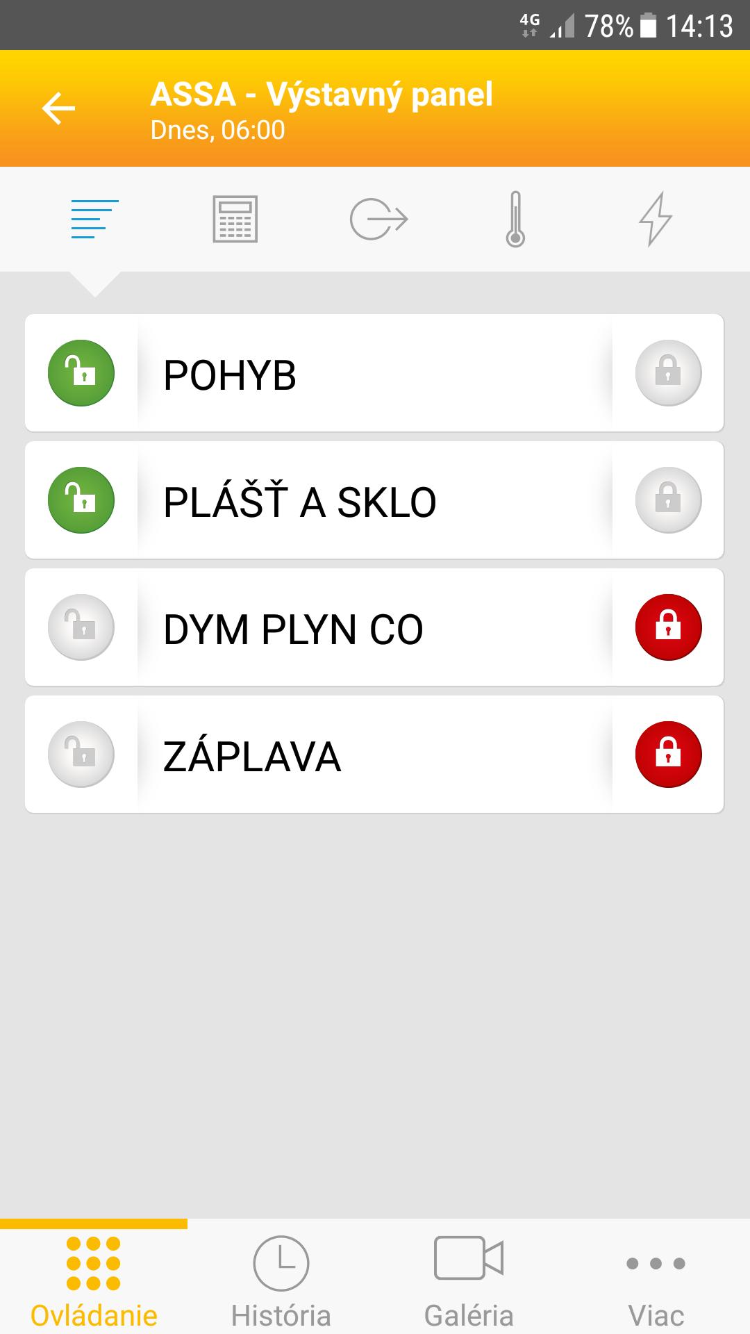 Aplikácia MyJablotron - sekcie alarmu Jablotron 100